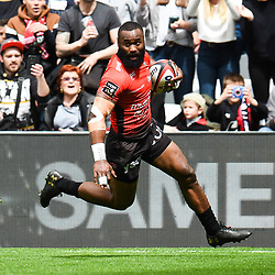 Semi Radradra of Toulon scores a try during the French Top 14 match between Toulon and Montpellier at Stade Velodrome on April 14, 2018 in Marseille, France. (Photo by Alexandre Dimou/Icon Sport)
