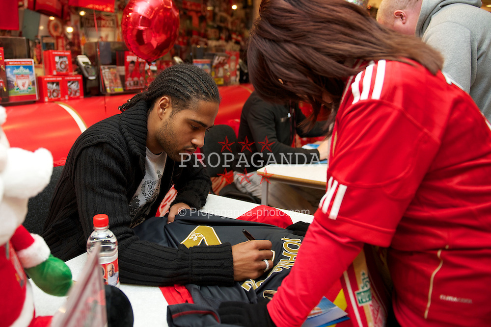 LIVERPOOL, ENGLAND - Friday, November 26, 2010: Liverpool's Glen Johnson during a signing session for supporters at the Liverpool FC Club Shop at Anfield. (Photo by David Rawcliffe/Propaganda)