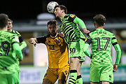Forest Green Rovers Chris Stokes(30) heads the ball during the EFL Sky Bet League 2 match between Forest Green Rovers and Port Vale at the New Lawn, Forest Green, United Kingdom on 11 February 2020