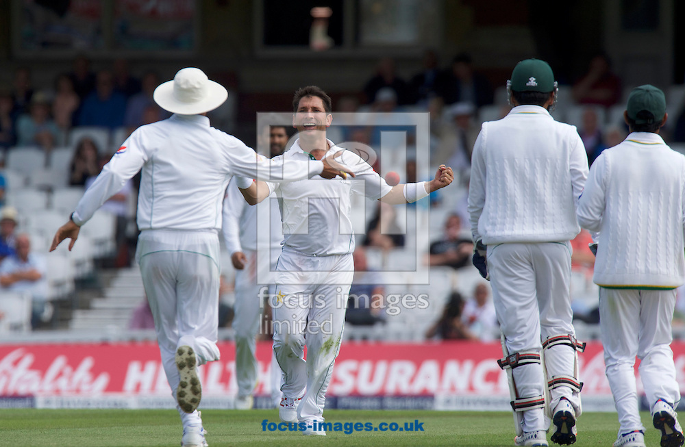 Bowler Yasir Shah of Pakistan celebrates taking the wicket of Stuart Broad of England during Day Four of the fourth Investec Test Match at the Kia Oval, London<br /> Picture by Alan Stanford/Focus Images Ltd +44 7915 056117<br /> 14/08/2016