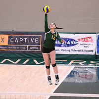 1st year outside hitter Jessica Lerminiaux (12) of the Regina Cougars in action during Women's Volleyball home game on January 13 at Centre for Kinesiology, Health and Sport. Credit: Arthur Ward/Arthur Images 2018