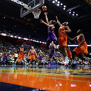 UNCASVILLE, CONNECTICUT- MAY 26:  Eugeniya Belyakova #10 of the Los Angeles Sparks drives to the basket past Morgan Tuck #33 of the Connecticut Sun during the Los Angeles Sparks Vs Connecticut Sun, WNBA regular season game at Mohegan Sun Arena on May 26, 2016 in Uncasville, Connecticut. (Photo by Tim Clayton/Corbis via Getty Images)