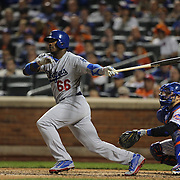 Yasiel Puig, Los Angeles Dodgers, batting during the New York Mets Vs Los Angeles Dodgers, game four of the NL Division Series at Citi Field, Queens, New York. USA. 13th October 2015. Photo Tim Clayton