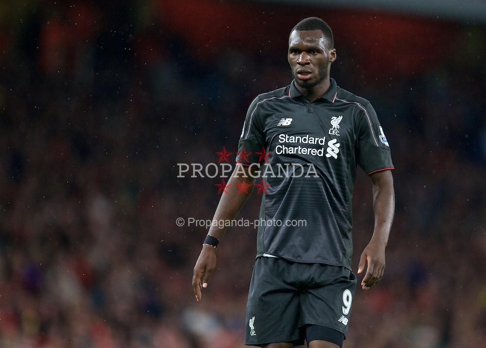 LONDON, ENGLAND - Monday, August 24, 2015: Liverpool's Christian Benteke in action against Arsenal during the Premier League match at the Emirates Stadium. (Pic by David Rawcliffe/Propaganda)