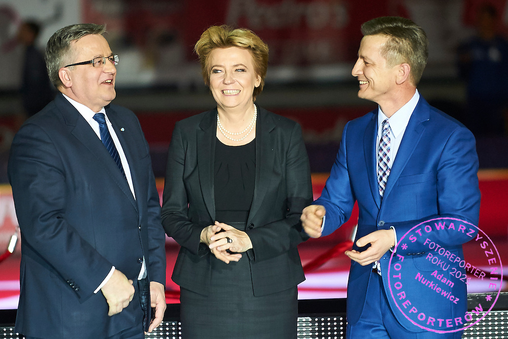 (L) Bronislaw Komorowski - President of Poland and (C) Hanna Zdanowska the mayor of City Lodz and (R) Krzysztof Klimczak President Board of Strauss Cafe Poland during athletics meeting Pedro's Cup at Atlas Arena in Lodz, Poland.<br /> <br /> Poland, Lodz, February 17, 2015<br /> <br /> Picture also available in RAW (NEF) or TIFF format on special request.<br /> <br /> For editorial use only. Any commercial or promotional use requires permission.<br /> <br /> Adam Nurkiewicz declares that he has no rights to the image of people at the photographs of his authorship.<br /> <br /> Mandatory credit:<br /> Photo by &copy; Adam Nurkiewicz / Mediasport