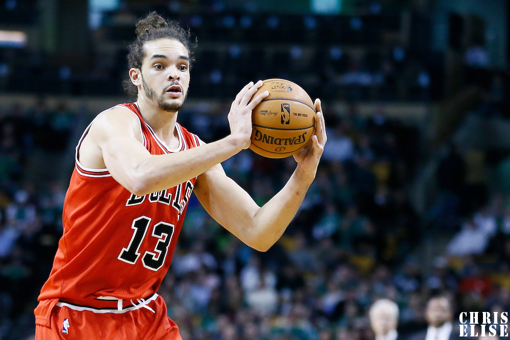 13 February 2013: Chicago Bulls center Joakim Noah (13) looks to pass the ball during the Boston Celtics 71-69 victory over the Chicago Bulls at the TD Garden, Boston, Massachusetts, USA.