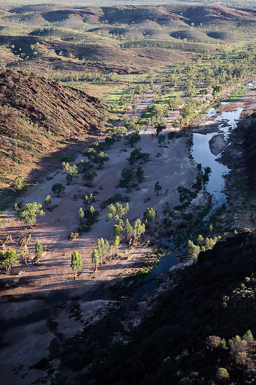 Aerial view i=of the Fink River as it carves its' way south through Glen Helen Gorge in the West macDonnell Ranges of Central Australia