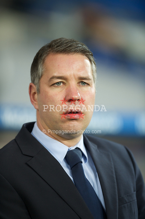 CARDIFF, WALES - Tuesday, February 14, 2012: Peterborough United's manager Darren Ferguson before the Football League Championship match against Cardiff City at the Cardiff City Stadium. (Pic by David Rawcliffe/Propaganda)
