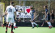 AMSTELVEEN -  Hockey Hoofdklasse heren Pinoke-Amsterdam (3-6). Derck de Vilder (Pinoke) heeft gescoord. rechts Matis Papa (Pinoke)    COPYRIGHT KOEN SUYK