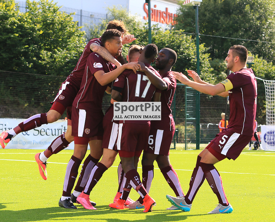 Billy King celebrates his equalising goal during the Hamilton Academical FC  V Heart of Midlothian FC Scottish Premiership 29th August 2015  ©Edward Linton | SportPix.org.uk