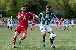 NEWTOWN, WALES - Sunday, May 6, 2018: Nathan Woolfe of Connahs Quay Nomads and  captain Ashley Young of Aberystwyth Town during the FAW Welsh Cup Final between Aberystwyth Town and Connahs Quay Nomads at Latham Park. (Pic by Paul Greenwood/Propaganda)