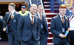 Motherwell players arrive for the William Hill Scottish Cup Final at Hampden Park, Glasgow.