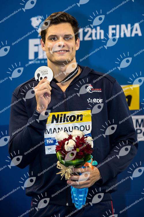 CIELO FILHO Cesar BRA Gold Medal<br /> MANAUDOU Florent FRA Silver Medal<br /> IZOTOV Danila RUS Bronze Medal<br /> Men's 100m Freestyle Final<br /> Doha Qatar 07-12-2014 Hamad Aquatic Centre, 12th FINA World Swimming Championships (25m). Nuoto Campionati mondiali di nuoto in vasca corta.<br /> Photo Giorgio Scala/Deepbluemedia/Insidefoto