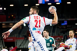 Vanja Ilic of Serbia during handball match between National teams of Serbia and Belarus on Day 7 in Main Round of Men's EHF EURO 2018, on January 24, 2018 in Arena Zagreb, Zagreb, Croatia.  Photo by Vid Ponikvar / Sportida
