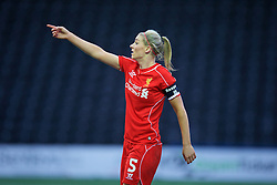 WIDNES, ENGLAND - Sunday, April 26, 2015: Liverpool's captain Gemma Bonner in action against Manchester City during the FA Women's Super League match at the Halton Stadium. (Pic by David Rawcliffe/Propaganda)
