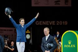 BRASH Scott (GBR), FUCHS Martin (SUI), GUERY Jérome (BEL)<br /> Genf - CHI Geneve Rolex Grand Slam 2019<br /> Siegerehrung<br /> Rolex Grand Prix - Stechen<br /> Internationale Springprüfung mit Stechen<br /> International Jumping Competition 1m60<br /> Grand Prix Against the Clock with Jump-Off<br /> 15. Dezember 2019<br /> © www.sportfotos-lafrentz.de/Stefan Lafrentz