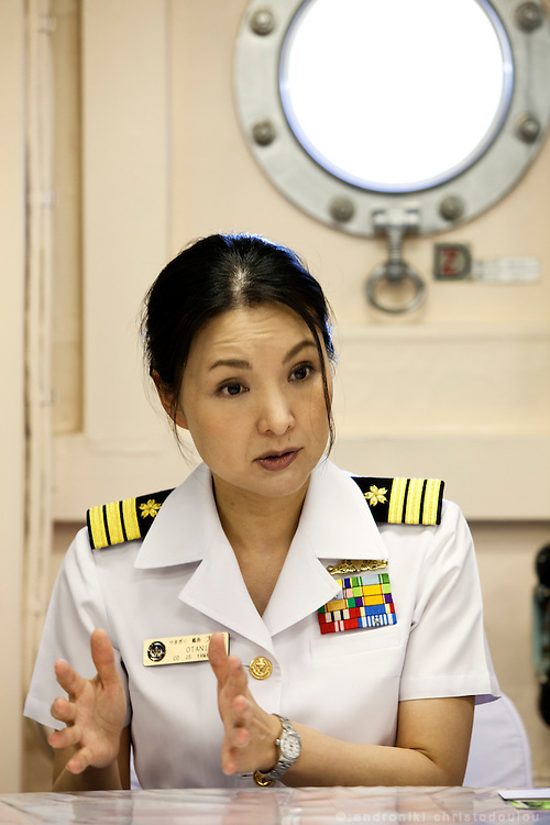 Miho Ootani, the first woman destroyer captain of Japan's Marine Self Defence Forces (MSDF), on board the Yamagiri in Yokosuka army base near Tokyo. Photos inside the ship, shot during the interview.