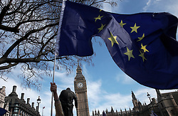 UK ENGLAND LONDON 25MAR17 - The EU flag flies near the statue of Sir Winston Churchill  at the Houses of Parliament as thousands of protesters take part in the March for Europe in central London.<br /> <br /> jre/Photo by Jiri Rezac<br /> <br /> © Jiri Rezac 2017