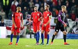 Jordan Henderson of England tries to encourage his teammates during the 0-0 draw with Slovenia - Mandatory by-line: Robbie Stephenson/JMP - 11/10/2016 - FOOTBALL - RSC Stozice - Ljubljana, England - Slovenia v England - World Cup European Qualifier
