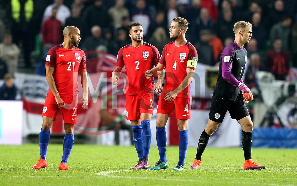 Jordan Henderson of England tries to encourage his teammates during the 0-0 draw with Slovenia - Mandatory by-line: Robbie Stephenson/JMP - 11/10/2016 - FOOTBALL - RSC Stozice - Ljubljana, England - Slovenia v England - World Cup European Qualifier