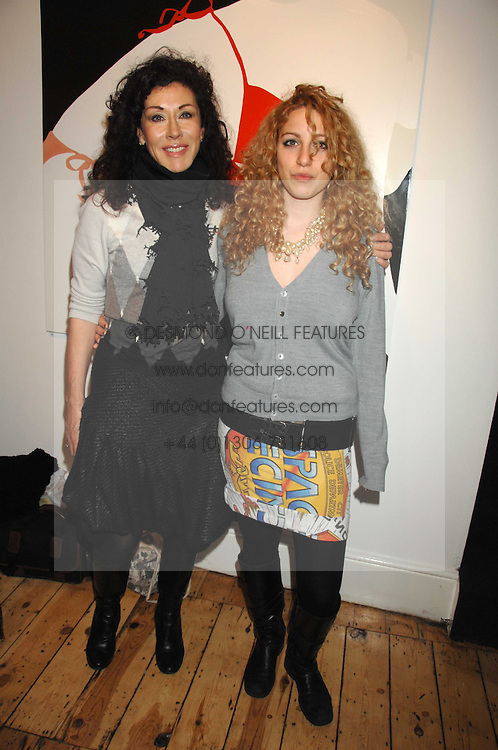 Left to right, HELEN DAVID and her daughter ISABELLE DAVID at an exhibition of artist Natasha Law's work entitled 'Room' hosted by the Eleven gallery in association with Ruinart champagne at 121 Charing Cross Road, London WC2 on 16th January 2008.  Following the private view a dinner was held at Soho House hosted by Ruinart.<br /> <br />  (EMBARGOED FOR PUBLICATION IN UK MAGAZINES UNTIL 1 MONTH AFTER CREATE DATE AND TIME) www.donfeatures.com  +44 (0) 7092 235465