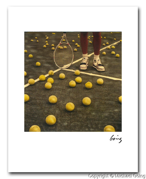 Tennis Balls 1987. 8x10 signed print  free shipping USA. Hand altered Polaroid SX 70 photograph. Printed  to order and individually hand signed