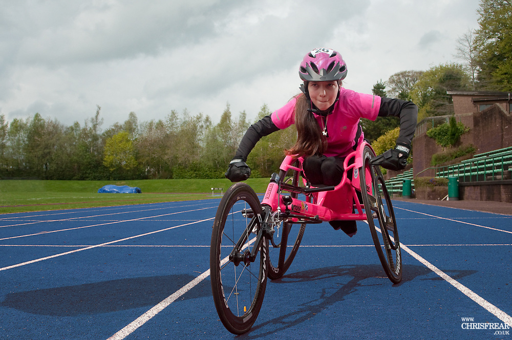 Shelby Waton<br /> Scottish Wheelchair Racer<br /> Dumfries Athletics Track<br /> Dumfries, 26th April 2014