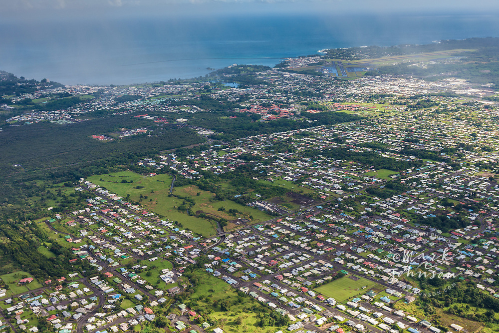 Aerial photo of Hilo, Big Island, Hawaii