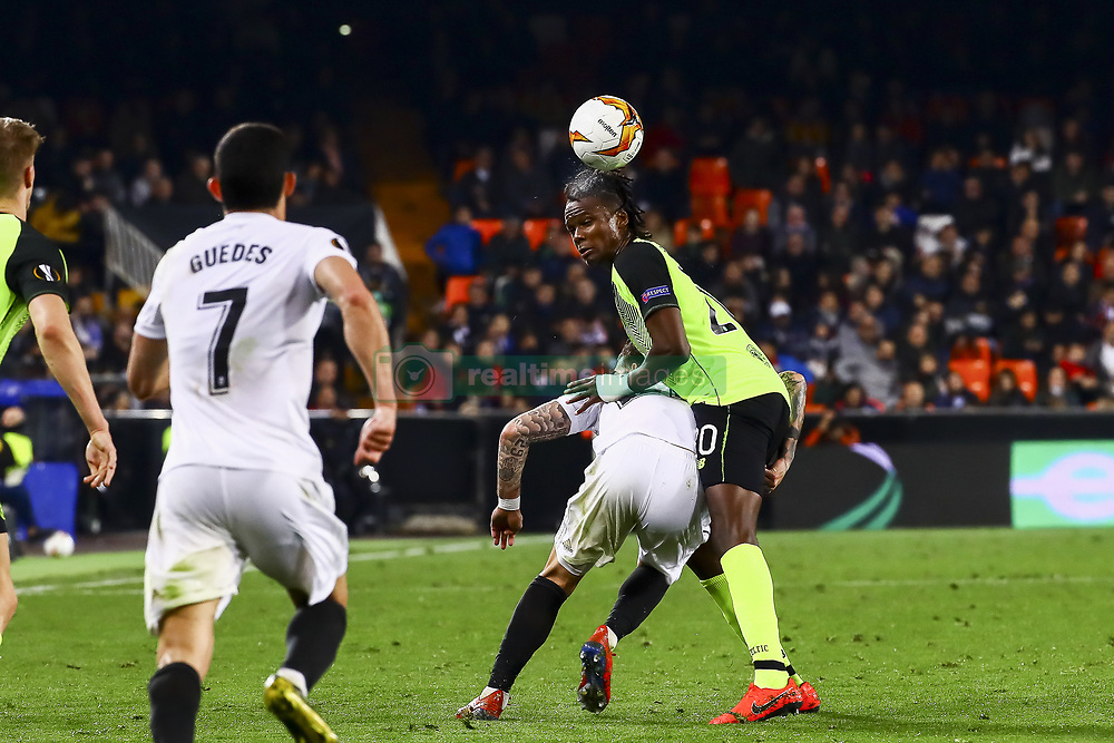 February 21, 2019 - Valencia, Spain - Dedryck Boyata of Celtic FC (R)  during second leg of their last 32 UEFA Europa League match between  Valencia CF v AS Celtic at Mestalla Stadium on February 21, 2019. (Credit Image: © Jose Miguel Fernandez De Velasco/NurPhoto via ZUMA Press)