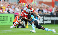 Photo © TOM DWYER / SECONDS LEFT IMAGES 2011 - Gloucester Rugby V Worcester Warriors - Aviva Premiership - Rugby Union - 10/09/11 - Gloucester's Charlie Sharples  tackled by Worcester's Miles Benjamin - at Kingsholm Stadium Gloucester UK - All rights reserved