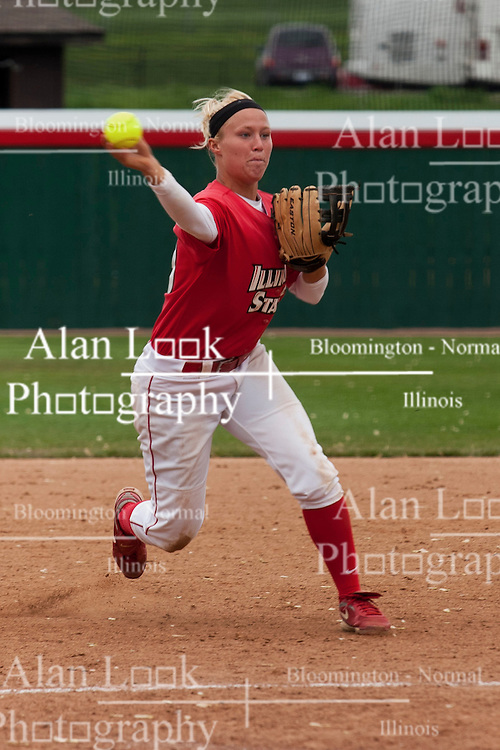 15 April 2012:  Shortstop Lindsey Greene fields a ball and throws to second during an NCAA women's softball game between the Drake Bulldogs and the Illinois State Redbirds on Marian Kneer Field in Normal IL