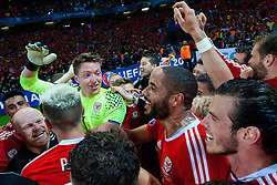 LILLE, FRANCE - Friday, July 1, 2016: Wales players celebrate a 3-1 victory over Belgium and reaching the Semi-Final during the UEFA Euro 2016 Championship Quarter-Final match at the Stade Pierre Mauroy. goalkeeper Wayne Hennessey, captain Ashley Williams. (Pic by David Rawcliffe/Propaganda)