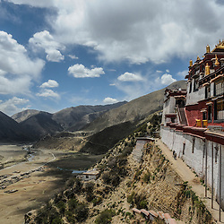 Monastery above the valley, Central-Tibet.