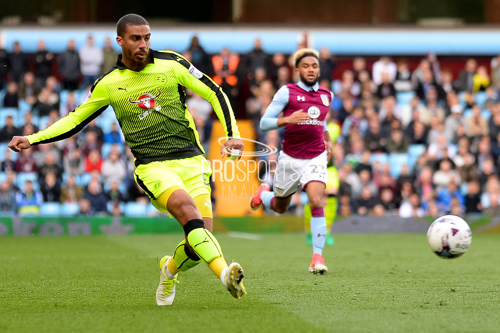 Reading striker (on loan from Bournemouth) Lewis Grabban (50) gets in a cross during the EFL Sky Bet Championship match between Aston Villa and Reading at Villa Park, Birmingham, England on 15 April 2017. Photo by Dennis Goodwin.