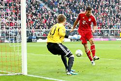 29.10.2011, Allianz Arena, Muenchen, GER, 1.FBL,  FC Bayern Muenchen vs 1. FC Nuernberg, im Bild Tor zum 4-0 durch Mario Gomez (Bayern #33) mit Stephan Alexander (Nuernberg #30)  // during the match FC Bayern Muenchen vs 1. FC Nuernberg, on 2011/10/29, Allianz Arena, Munich, Germany, EXPA Pictures © 2011, PhotoCredit: EXPA/ nph/  Straubmeier       ****** out of GER / CRO  / BEL ******