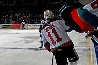 KELOWNA, BC - FEBRUARY 12: Pavel Novak #11 of the Kelowna Rockets fist bumps the bench to celebrate a third period goal against the Tri-City Americans at Prospera Place on February 8, 2020 in Kelowna, Canada. (Photo by Marissa Baecker/Shoot the Breeze)