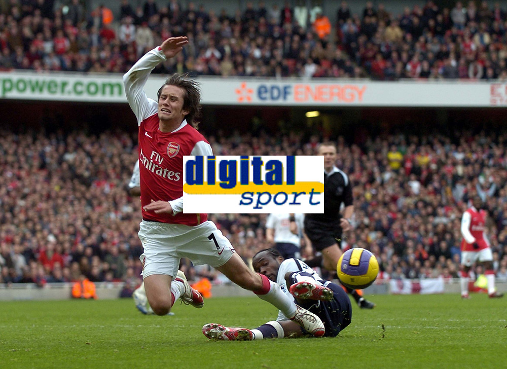 Photo: Olly Greenwood.<br />Arsenal v Tottenham Hotspur. The Barclays Premiership. 02/12/2006. Spurs' Pascal Chimbonda fouls Arsenal's Tomas Rosicky to give Arsenal a penalty