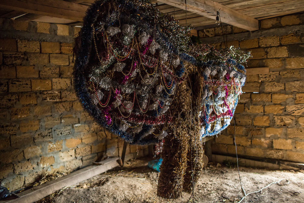 An elaborate bear costume, which will be worn during celebrations of the Malanka Festival in the Trazhan district, hangs in a barn on Wednesday, January 13, 2016 in Krasnoilsk, Ukraine. The festival will begin at sundown and last until the following evening.