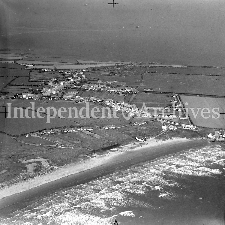 A116 Clogher Head.   01/06/54. (Part of the Independent Newspapers Ireland/NLI collection.)<br /> <br /> <br /> These aerial views of Ireland from the Morgan Collection were taken during the mid-1950's, comprising medium and low altitude black-and-white birds-eye views of places and events, many of which were commissioned by clients. From 1951 to 1958 a different aerial picture was published each Friday in the Irish Independent in a series called, 'Views from the Air'.<br /> The photographer was Alexander 'Monkey' Campbell Morgan (1919-1958). Born in London and part of the Royal Artillery Air Corps, on leaving the army he started Aerophotos in Ireland. He was killed when, on business, his plane crashed flying from Shannon.