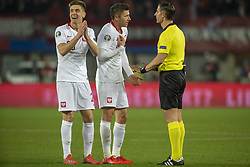 March 21, 2019 - Vienna, Austria - Robert Lewandowski and Krzysztof Piatek of Poland reacts after Referee decision during the UEFA European Qualifiers 2020 match between Austria and Poland at Ernst Happel Stadium in Vienna, Austria on March 21, 2019  (Credit Image: © Andrew Surma/NurPhoto via ZUMA Press)