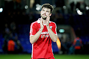 Scunthorpe Utd defender Cameron Burgess (21) claps the fans after the EFL Sky Bet League 1 match between Peterborough United and Scunthorpe United at London Road, Peterborough, England on 1 January 2019.