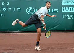 April 13, 2018 - Houston, TX, U.S. - HOUSTON, TX - APRIL 13:  Nick Kyrgios of Australia watches his serve in the match against Ivo Karlovic of Croatia during the Quarterfinal round of the Men's Clay Court Championship on April 13, 2018 at River Oaks Country Club in Houston, Texas.  (Photo by Leslie Plaza Johnson/Icon Sportswire) (Credit Image: © Leslie Plaza Johnson/Icon SMI via ZUMA Press)