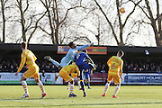 Millwall goalkeeper Jordan Archer (1) punches clear during the EFL Sky Bet League 1 match between AFC Wimbledon and Millwall at the Cherry Red Records Stadium, Kingston, England on 2 January 2017. Photo by Stuart Butcher.