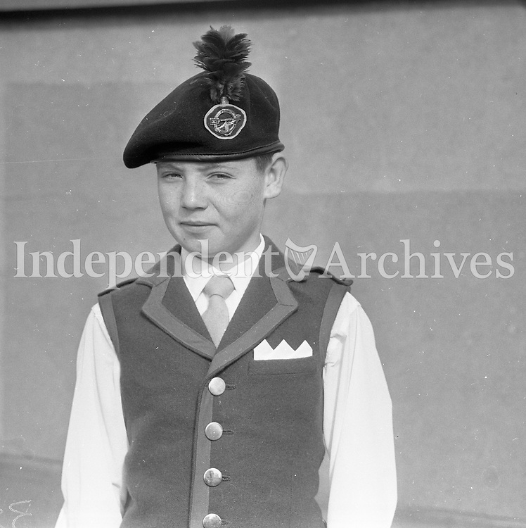 Eamon Bradley. Tara Boys Band. 9/9/1964. <br /> 15 year old Eamonn Bradley was part of the &ldquo;Ireland on Parade&rdquo; tour of America in 1964.<br /> He was chosen to help open and close each performance by raising and lowering the Irish and American flags &ndash; fittingly so as because the claim is advanced on his behalf he was the first of the new Irish republicans. This claim is based on the fact that Eamonn was born almost before the roar of the guns which announced the Republic of Ireland on April 17th 1949, from O&rsquo;Connell Bridge had ceased reverberating. Within three minutes of the official inauguration of the republic he was brought into the world- the first citizen under the new order as far as is known.<br /> (Part of the Independent Newspapers Ireland/NLI Collection)