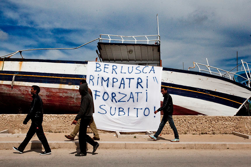 Silvio Berlusconi visits makes a brief visit to Lampedusa  assuring the population that in 48 hours all illegal would-be immigrants will be avacuated from the Island by 6 six boats and will be taken to other destinations.Lampedusa faced a huge invasion of would be immigrants from Norther Africa  during the last month.