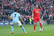 Liverpool midfielder Jordan Henderson (14)   during the Capital One Cup match between Liverpool and Manchester City at Anfield, Liverpool, England on 28 February 2016. Photo by Simon Davies.