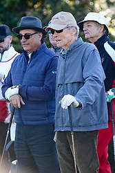 """Feb 6, 2019 Pebble Beach, Ca. USA TV, Film and singing stars that included Winners, CLINT EASTWOOD and ANDY GACIA with BillMurray behind whom played in the """"3M Celebrity Challenge"""" to try for part of the 100K purse to go to their favorite charity and win the Estwood-Murray cup, for which team Clint Eastwwod's group won.. The event took place during practice day of the PGA AT&T National Pro-Am golf on the Pebble Beach Golf Links. Photo by Dane Andrew c. 2019 contact: 408 744-9017  TenPressMedia@gmail.com"""