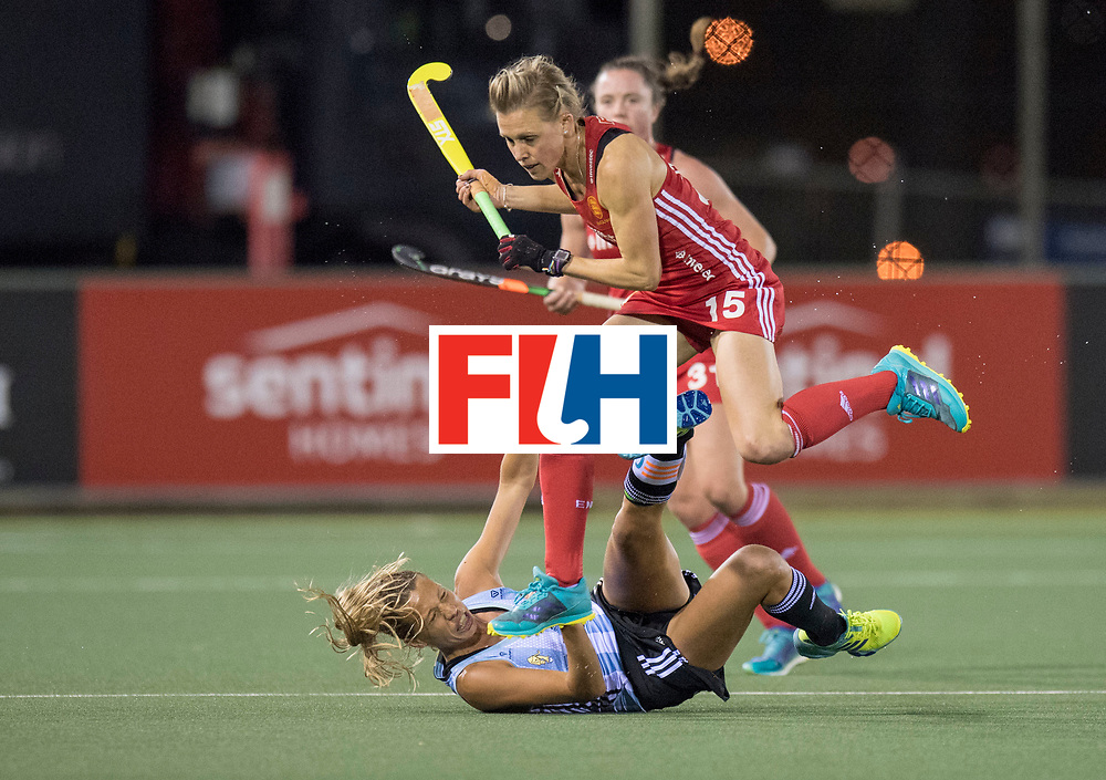 AUCKLAND - Sentinel Hockey World League final women<br /> Match id 10298<br /> 08 Argentina v England 1-0<br /> Foto: Alex Danson jumps over Delfina Merino.<br /> WORLDSPORTPICS COPYRIGHT FRANK UIJLENBROEK