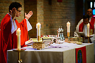 The Rev. Jeffrey Leininger, CUC campus pastor, leads the opening Divine Service in the Chapel of Our Lord during the 2017 Institute on Liturgy, Preaching and Church Music on Tuesday, July 25, 2017, on the campus of Concordia University Chicago in River Forest, Ill. LCMS Communications/Erik M. Lunsford