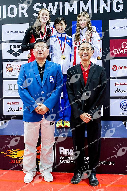 Podium<br /> IKEE Rikako JPN Gold Medal<br /> OLEKSIAK Penny CAN Silver Medal<br /> KAMENEVA Mariia  RUS Bronze Medal<br /> 50 Butterfly Women Final <br /> Day04 28/08/2015 - OCBC Aquatic Center<br /> V FINA World Junior Swimming Championships<br /> Singapore SIN  Aug. 25-30 2015 <br /> Photo A.Masini/Deepbluemedia/Insidefoto